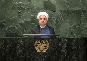 Le président iranien Hassan Rouhani prenant la parole devant l'Assemblée générale des Nations unies le 25 septembre 2014