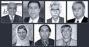 Les sept enseignants bahá'ís condamnés à la prison sont : (rangée du haut, de gauche à droite) Mahmoud Badavam, Ramin Zibaie, Riaz Sobhani, Farhad Sedghi ; (rangée du bas, de gauche à droite) Nooshin Khadem, Kamran Mortezaie, et Vahid Mahmoudi. Mme Khadem est titulaire d'un MBA de l'université Carleton à Ottawa.
