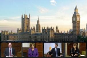Les membres du Parlement britannique prenant part, le 11 janvier, à un débat sur les violations des droits de l'homme en Iran. Sur la photo, de gauche à droite : Alistair Burt, député du North East Bedfordshire et sous-secrétaire parlementaire d'État au ministère des Affaires étrangères et du Commonwealth ; Louise Ellman, députée de Liverpool Riverside ; Andrew Selous, député de South West Bedfordshire et Kerry McCarthy, députée de Bristol East.