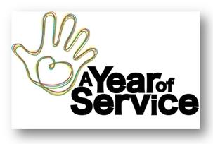 Le logo pour « Une année de service », un programme patronné par le gouvernement du Royaume-Uni et destiné à illustrer le principe du service désintéressé aux autres, ainsi qu'à promouvoir la collaboration entre les neuf principales communautés religieuses du Royaume-Uni.