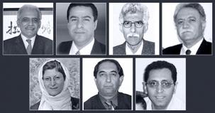 Les sept enseignants bahá'ís purgeant actuellement une peine de prison sont : (rangée du haut, de gauche à droite) : Mahmoud Badavam, Ramin Zibaie, Riaz Sobhani, Farhad Sedghi ; (rangée du bas, de gauche à droite) Noushin Khadem, Kamran Mortezaie et Kamran Rahimian.