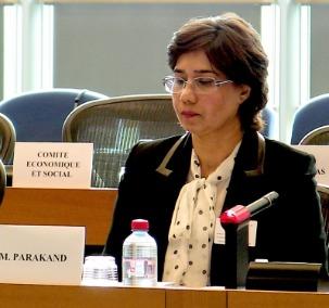 Mahnaz Parakand, une des avocates des sept responsables bahá'ís emprisonnés en Iran, s'est adressée au Parlement européen lors d'une rencontre, à Bruxelles, le 28 juin. « Les peines et les souffrances qu'endurent les bahá'ís s'ajoutent aux cruautés rencontrées par toute la population iranienne », a affirmé Mme Parakand