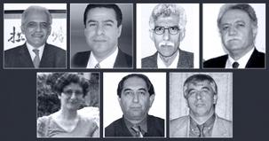 Les sept formateurs bahá'ís, détenus suite à leur participation au programme communautaire officieux pour fournir un enseignement supérieur aux jeunes bahá'ís. Ce sont (premier rang, de gauche à droite) : Mahmoud Badavam, Ramin Zibaïe, Riaz Sobhani, Farhad Sedghi ; (deuxième rang, de gauche à droite) : Noushin Khadem, Kamran Mortezaïe et Vahid Mahmoudi.