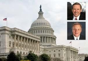 La résolution du sénat américain condamne le gouvernement iranien pour sa persécution des bahá'ís, soutenue par l'État. La résolution avait été présentée l'année dernière par les sénateurs de l'Illinois Mark Kirk (en haut) et Richard Durbin.