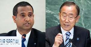 Ahmed Shaheed (à gauche), le rapporteur spécial des Nations unies sur la situation des droits de l'homme en Iran et le secrétaire général Ban Ki-moon (à droite). Photos ONU/Jean-Marc Ferre et Marco Castro