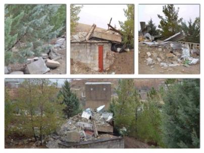 Parties détruites du cimetière bahá'í à Sanandaj en Iran