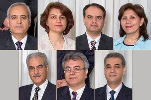 Photos des sept dirigeants bahá'ís emprisonnés : en haut en partant de la gauche, Berouz Tavakkoli, Fariba Kamalabadi, Vahid Tizfahm, Mahvash Sabet ; en bas en partant de la gauche, Jamaloddin Khanjani, Saeid Rezaie et Afif Naemi.