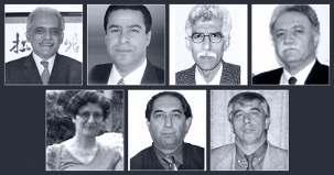 Les sept enseignants bahá'ís emprisonnés sont (rangée du haut, de g. à dr.) : Mahmoud Badavam, Ramin Zibaie, Riaz Sobhani, Farhad Sedghi ; (rangée du bas, de g. à dr.) : Noushin Khadem, Kamran Mortezaie et Vahid Mahmoudi.