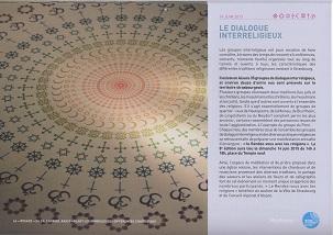 Le mois de juin consacré au dialogue interreligieux est illustré par une magnifique rosace composée des symboles des religions présentes dans ce calendrier. Le symbole de la foi bahá'íe est l'étoile à 9 branches.