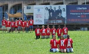 Les sympathisants brésiliens portaient des t-shirts sur lesquels on pouvait lire «Libertem Baha'is Irã » (« Iran, libérez les Baha'is »).