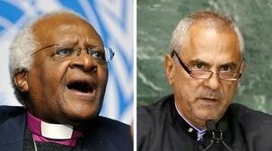 Deux lauréats au prix Nobel – Desmond Tutu, l'archevêque honoraire anglican de Cap Town et José Ramos-Horta, président du Timor oriental – se sont joints au tollé mondial contre la persécution à laquelle font face les enseignants bahá'ís en Iran. ( crédits photos : à gauche photo ONU/Jean-Marc Ferre ; à droite photo ONU/Ky Chung)