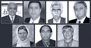Les sept enseignants bahá'ís emprisonnés sont (rangée du haut, de G à D) : Mahmoud Badavam, Ramin Zibaie, Riaz Sobhani, Farhad Sedghi ; (rangée du bas, de G à D) Noushin Khadem, Kamran Mortezaie, et Vahid Mahmoudi.
