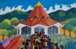 Une peinture de la maison d'adoration bahá'íe du Norte del Cauca par l'artiste Carlos Rosa.