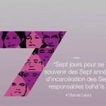 Logo de la campagne de la Communauté internationale bahá'íe marquant le septième anniversaire de l'emprisonnement injustifié des sept anciens responsables bahá'ís en Iran
