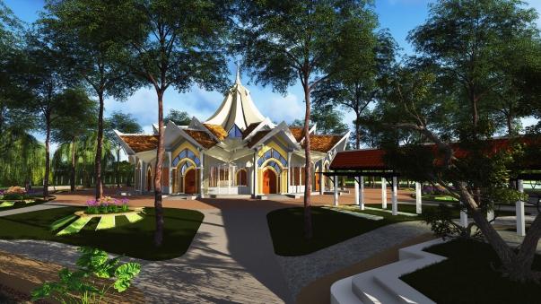 L'architecture approuvée de la maison d'adoration bahá'íe locale à Battambang, au Cambodge.