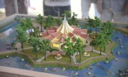 Une maquette de la maison d'adoration bahá'íe présentée lors de l'évènement