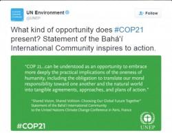 Le Programme des Nations unies de l'environnement (PNUE) a posté sur Twitter un passage de la déclaration officielle de la CIB pour le COP21, intitulée Vision commune, volonté commune : Ensemble choisissons le futur de notre monde.