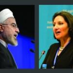 Le président iranien, Hassan Rohani ; Bani Dugal, la principale représentante de la Communauté internationale bahá'íe auprès des Nations unies.