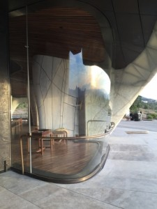 Photo 4 Vue du temple du Chili montrant le contraste entre des panneaux en bois sombre, le revêtement de verre coulé et les fenêtres qui montent de la base et se courbent sous les ailes du bâtiment.