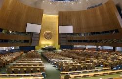 Vue intérieure de la salle de l'Assemblée générale des Nations unies, New York. Crédit photo: UN/Sophia Paris
