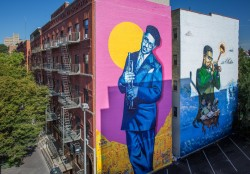 Deux nouvelles peintures murales de Dizzy Gillespie ont été récemment réalisées à Harlem dans le cadre de L'éducation n'est pas un crime, une campagne d'arts de la rue qui vise à sensibiliser aux droits de l'homme en Iran.