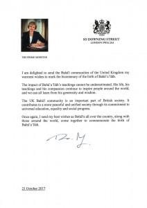 « La communauté bahá'íe britannique est une partie importante de la société britannique », a écrit la Première ministre Theresa May.