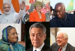 Parmi les dirigeants qui ont adressé des messages de soutien et de reconnaissance à la communauté bahá'íe à l'occasion du bicentenaire figuraient des chefs d'État et de gouvernement. En haut (de gauche à droite) : le Premier ministre indien Narendra Modi, Theresa May, Premier ministre du Royaume-Uni, et le premier président de la Zambie, Kenneth Kaunda. En bas (de gauche à droite): le Premier ministre du Bangladesh Sheikh Hasina, Le Premier ministre de Singapour, Lee Hsien Loong, et l'ancien président américain Jimmy Carter.