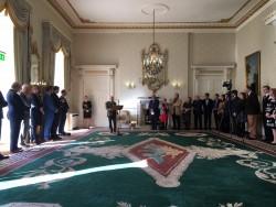 Le président d'Irlande s'adressant à une délégation de bahá'ís