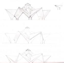 Autre croquis montrant des étapes du processus de conception.