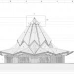 Dessin de l'équipe d'architecture montant les caractéristiques extérieures du temple, y compris le toit en tuiles de terre cuite et sa couronne.