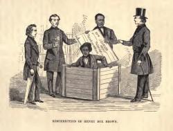 Cette illustration d'un livre de 1872 montre le moment où Henry « Box » Brown a été sorti de la caisse d'expédition à Philadelphie. La boîte – 1m de long, 80cm de profondeur et 70cm de large – affiche les mots « marchandises sèches ». (Image : William Still)