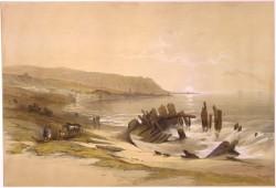 """Tableau, datant de 1839, montrant une vue de Haïfa prise du nord. La ville de Haïfa aurait été identique lorsque le navire de Bahá'u'lláh y est arrivé dans la matinée du 31 août 1868. Il y est resté quelques heures avant de monter à bord d'un voilier pour la ville prison d'Acre. (Source : David Roberts, """"Caiphas looking towards Mount Carmel"""")"""