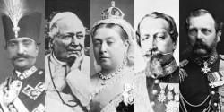 (De gauche à droite) Nasiri'd-Din Shah d'Iran, le pape Pie IX, la reine Victoria, Napoléon III de France et le tsar Alexandre II de Russie qui ont reçu des épîtres de Bahá'u'lláh écrites à Acre.