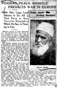 Article du « Buffalo Courier » du 11 septembre 1912 faisant référence à la causerie donnée par 'Abdu'l-Bahá la nuit précédente dans laquelle il prédit la guerre à venir. Selon le journal, il y disait : « Le continent européen est un vaste arsenal qui n'a besoin que d'une étincelle et toute l'Europe deviendra un lieu dévasté. »