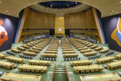 Vue de la salle de l'Assemblée générale au siège de l'ONU (Photo ONU / Manuel Elias)