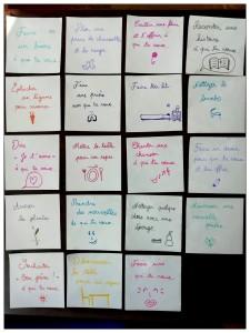Une famille parisienne avait préparé pour son enfant un calendrier avec 19 cases en ayant pour objectif de lui faire s'approprier la notion de service.