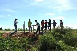 Photographie prise avant la crise sanitaire actuelle. Les efforts de jeunes adolescents pour planter des arbres afin d'améliorer la qualité de l'air et d'abriter de la chaleur ont eu l'avantage supplémentaire d'empêcher l'érosion d'une partie de route en cas d'inondations