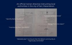 Le texte d'une Directive des autorités de la province du Mazandaran (Iran) qui a pour objet d'organiser la répression des bahá'ís de cette province.