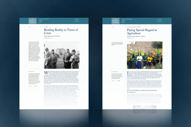 """La publication en ligne The Bahá'í World propose deux nouveaux articles, """"Reading Reality in Times of Crisis: 'Abdu'l-Bahá and the Great War"""" et """"Paying Special Regard to Agriculture: Collective Action-Research in Africa"""""""