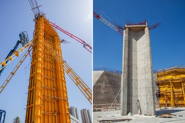 La première colonne terminée est visible sur l'image de droite. À gauche se trouve le travail sur la deuxième colonne, qui a été achevée la semaine dernière.