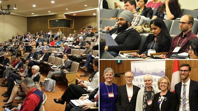 Photographies prises avant la crise sanitaire actuelle. Au cours des dernières années, la communauté bahá'íe canadienne s'est impliquée dans l'organisation de nombreuses conférences et d'autres espaces pour discuter de la place de la religion dans la vie publique et de la contribution de la religion à l'amélioration de la société. On voit ici est une conférence annuelle intitulée  Une société complète