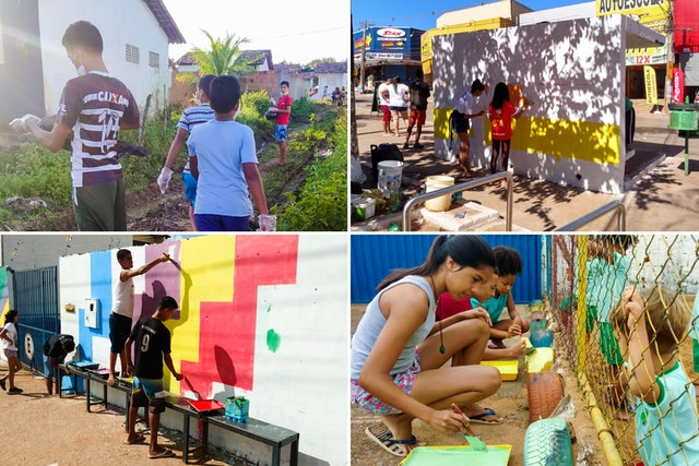 Des jeunes de tout le Brésil, qui sont engagés dans des programmes éducatifs bahá'ís, entreprennent différentes activités d'action sociale pour le bien-être de leurs communautés.
